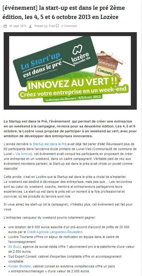 """La """"Start-up est dans le pré - Lozère Nouvelle vie"""" sur le site de 1001 Startups"""