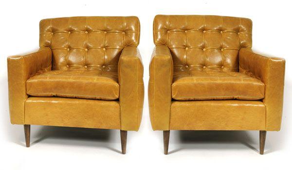 Edward Wormley Dunbar Leather Club Chairs | red modern furniture