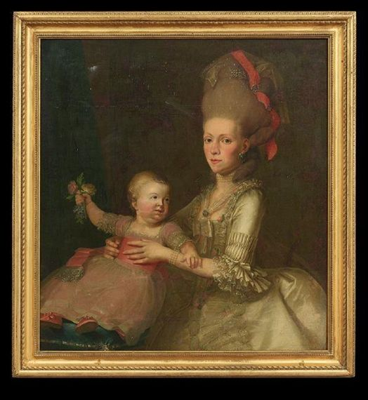 Mother and child, French School, 18th Century