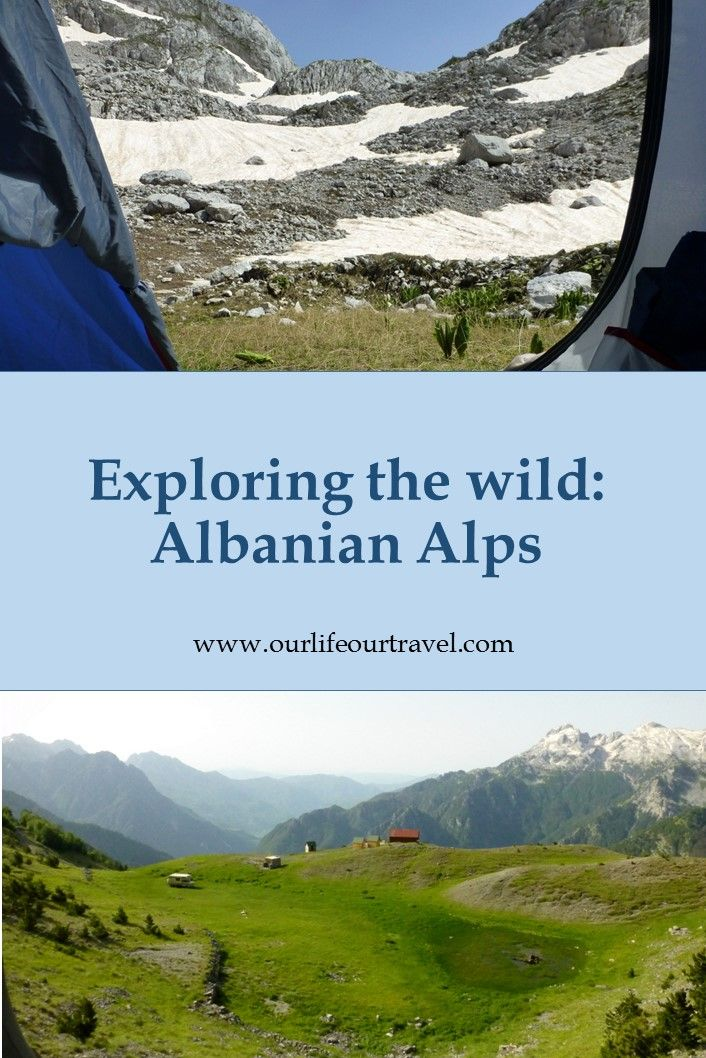 A tent. Mountains. Snow. Amazing view. Hiking in Albania off the trails.