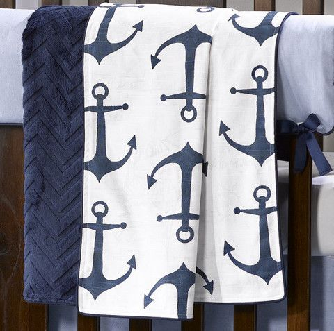 Navy Anchors Minky Receiving Blanket. Perfect for your Nautical Themed Nursery. Beautiful Anchors fabric backed in chevron embossed minky. Made in America. Shop now!