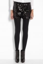 DO Black Sequin Mini Shorts by Halston Heritage with tights and boots for a winter style #dawnstyleQA