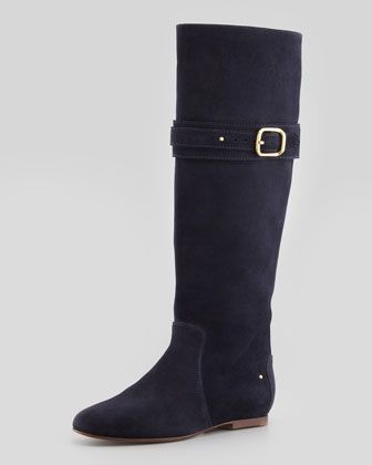 Paddington Suede Flat Knee Boot, Navy by Chloe at Neiman Marcus.