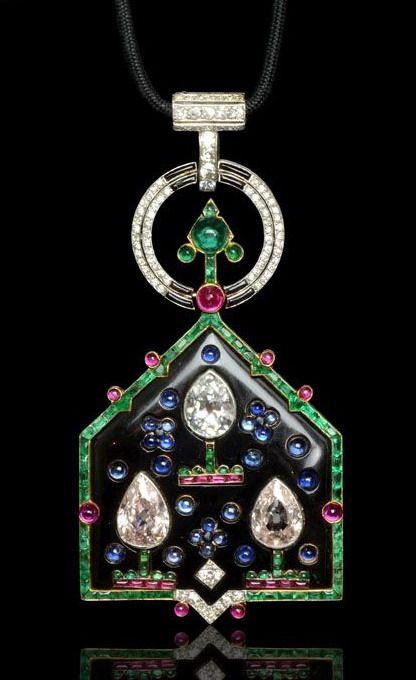 H & D Diamonds is your direct contact to diamond trade suppliers, a Bond Street jeweller and a team of designers.www.handddiamonds... Tel: 0845 600 5557 - CARTIER Paris.Art Deco 1921.Rare 'Oriental' multi-gem pendant