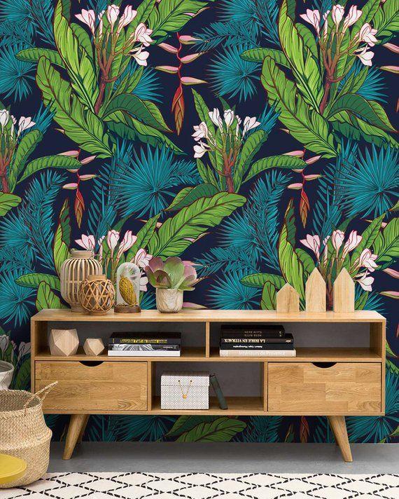 Tropical Jungle Removable Wallpaper Watercolor Paradise Etsy Removable Wallpaper Decor Palm Leaf Wallpaper