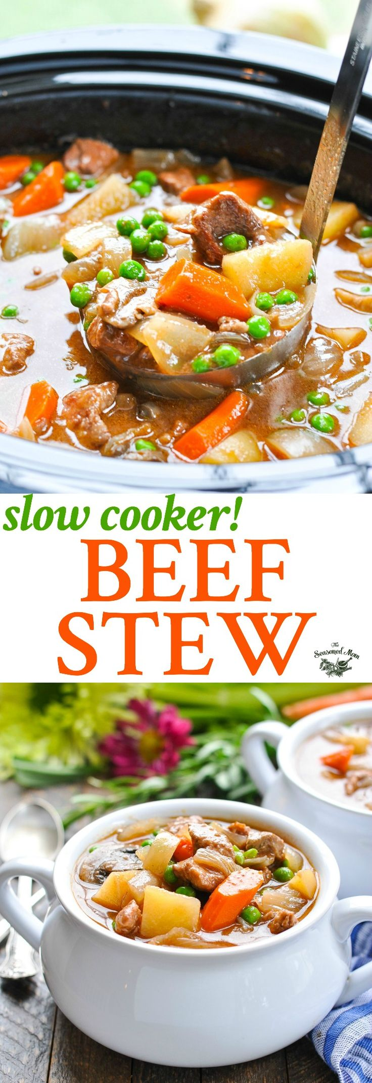 This classic Farmhouse Slow Cooker Beef Stew is an easy one pot meal that simmers on the counter all day while you go about your busy schedule! Slow Cooker Recipes Healthy | Beef Recipes | Easy Dinner Recipes | Healthy Dinner Ideas #beef #slowcooker #dinner