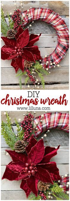 DIY Elegant Christmas Wreath |    Make a beautiful, personalized wreath for the holidays, using just a few simple supplies!!