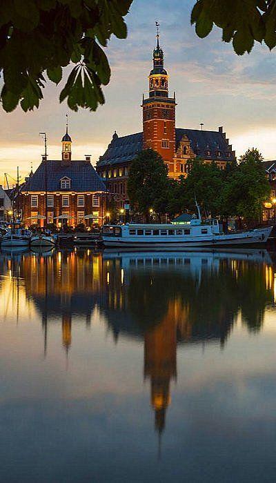 Rathaus and Harbor Reflection.. Leer, Ostfriesland, Germany | Flickr - Photo by Erik Pronske