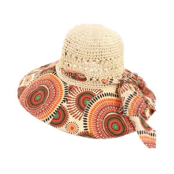 Women Foldable Hollow Beach Sun Straw Hat Large Wide Brim Flower Print Sunscreen Sun Hat
