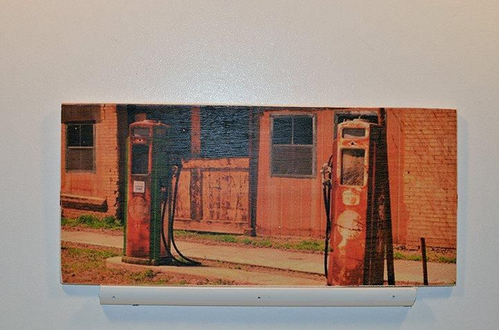 Wooden Wall Sign 10x5 - C003 - Old gas pumps