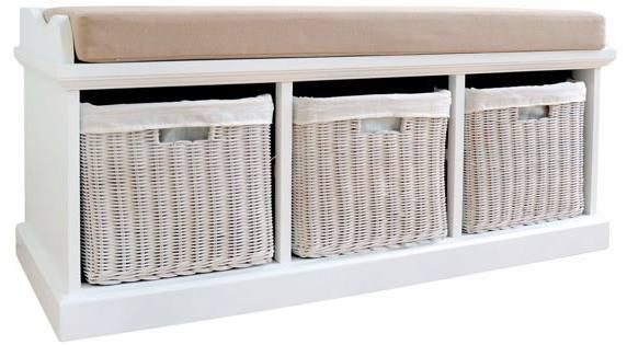 Statement Furniture - Tetbury White Storage Bench & Seat Cushion Product…