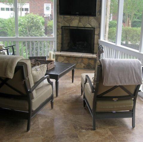 Screened Porch Corner Fireplace