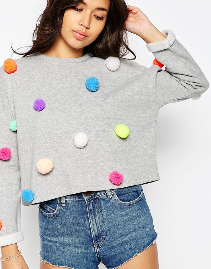 Image 3 of ASOS Multi Pom Pom Sweatshirt