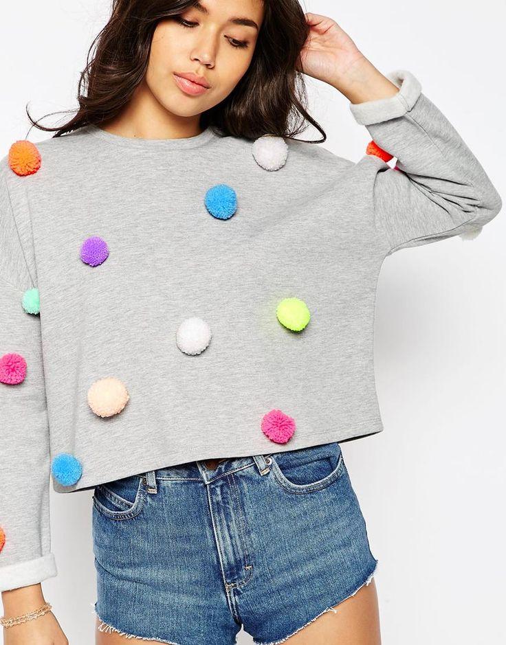 ASOS Multi Pom Pom Sweatshirt