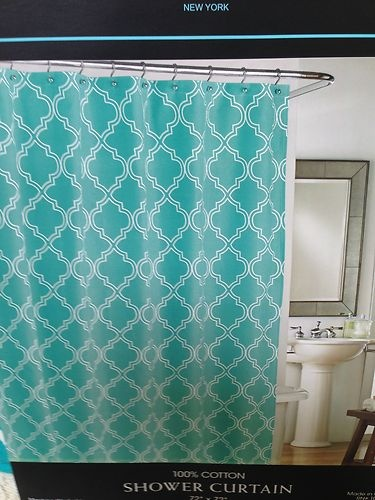 Cynthia Rowley AQUA TURQUOISE WHITE FABRIC SHOWER CURTAIN