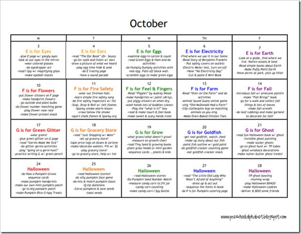 Preschool Alphabet: Preschool Plan for October