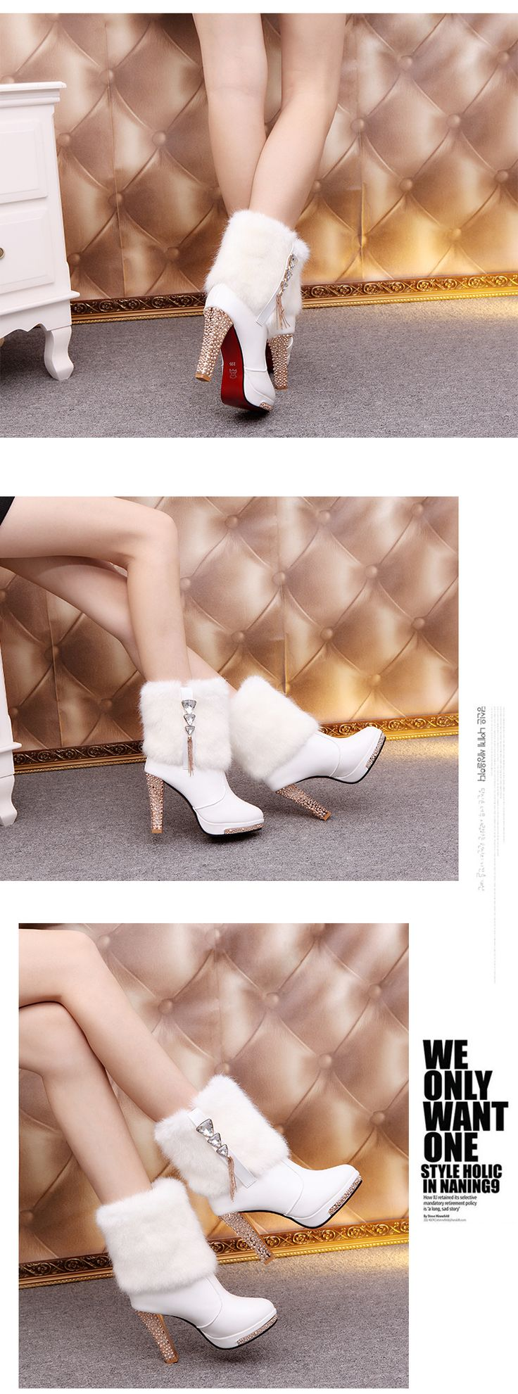 2016 Зимние Меховые Сапоги женские Плюшевые Теплые Ботинки Лодыжки Платформы обуви стороны молнии пряжки Женщина На Высоких Каблуках моды Обувь Черный белый купить на AliExpress