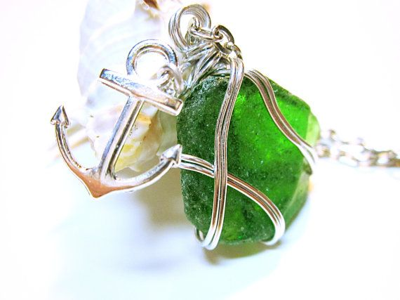Green Wire Wrapped Sea Glass Pendant Silver Anchor Charm And Wire #Gift Idea For Her #Nautical Jewelry SEA GLASS PENDANTS      Wonderfully and Interestingly Shaped Sea Glass ... #seaglass #seaglaspendant #nauticalnecklce #giftidea #giftforher #fashion