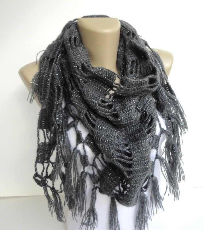 gray women scarf - shawl ,neckwarmer ,crocheted shawl scarf ,womens fashion , winter wholesale scarves senoAccessory by senoAccessory on Etsy