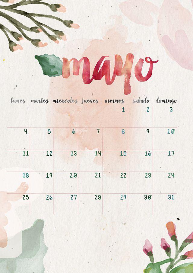 calendario mayo: imprimible y fondo