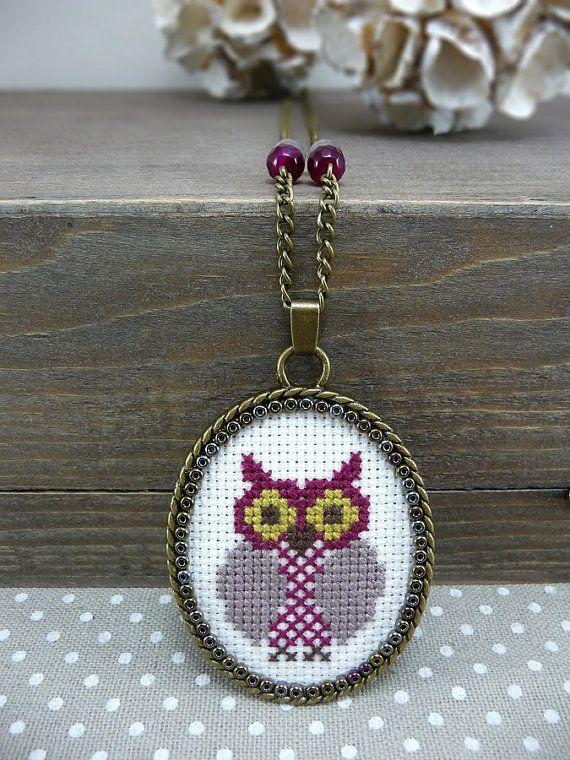 Aubergine Owl Cross Stitch Necklace, Plum Textile Pendant Necklace, Embroidered Necklace Woodland Jewelry, Owl Necklace Cross Stitch Jewelry