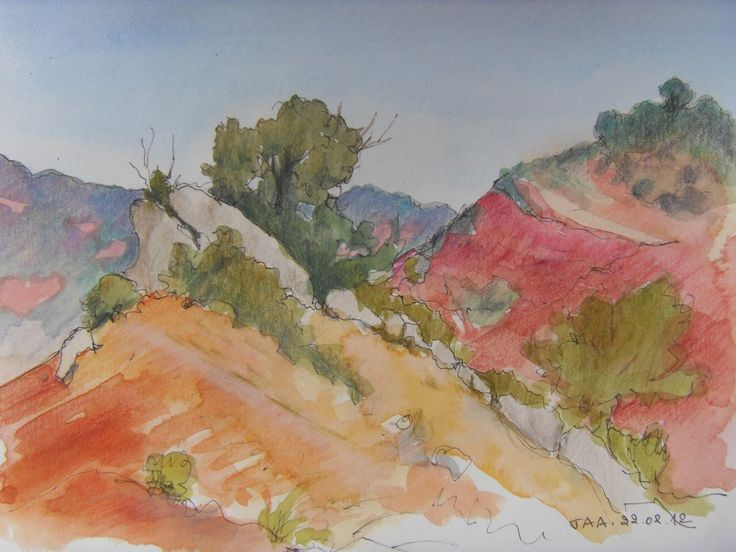 """Terres rouges"" by Judith Alsop Miles - Watercolour and coloured pencil drawing of the landscape around Peyrolles, Languedoc-Roussillon (France)"