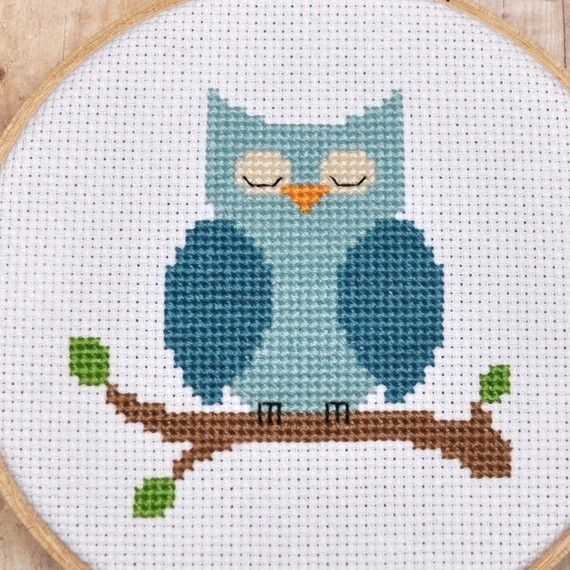 Owl Cross Stitch Pattern - would be cute on a towel