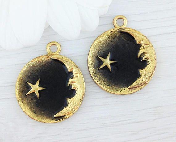 Black Moon Charms Wiccan Pendants 2 Pcs Crescent Moon