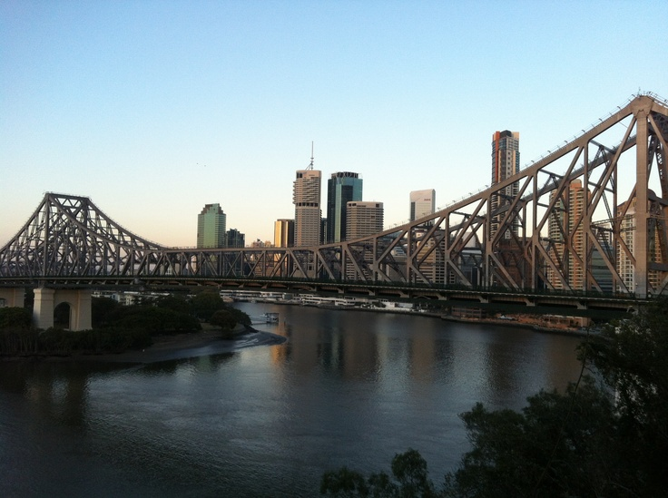 Brisbane City and the Story Bridge by sunrise, Australia