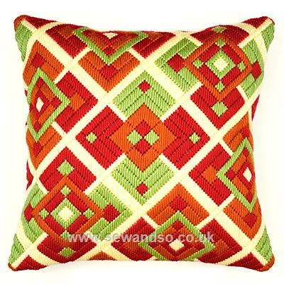 Mosaic Long Stitch (needlepoint) Cushion Front