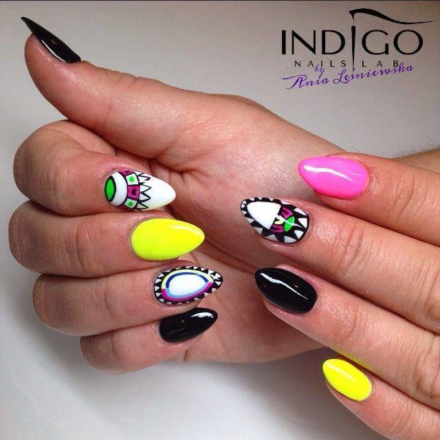 by Indigo Educator Ania Leśniewska - Follow us on Pinterest. Find more inspiration at www.indigo-nails.com #nailart #nails #indigo #aztec #neon #pink