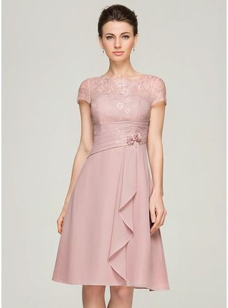 A-Line/Princess Scoop Neck Knee-Length Chiffon Lace Mother of the Bride Dress With Beading Flower(s) Sequins Cascading Ruffles