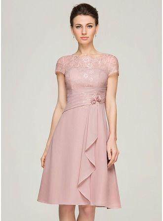 Vestidos princesa/ Formato A Decote redondo Coquetel De chiffon Renda Vestido para a mãe da noiva com Bordado fecho de correr Lantejoulas Babados em cascata