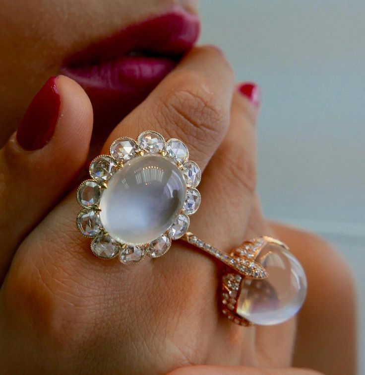 Romantic Moonstones Collection with Rose and Single cut Diamonds in White and Rose Gold www.ivynewyork.com