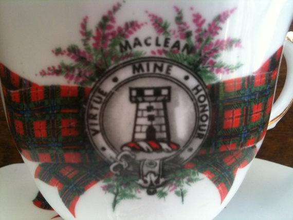 Vintage Maclean Clan Tartan Bone China Tea Cup Amp By