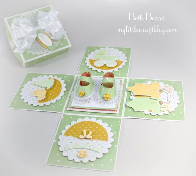 My little craft blog; exploding box;  Lullaby Designer Series Paper, Something for Baby Stamp Set + Baby's First Framelits Die bundle