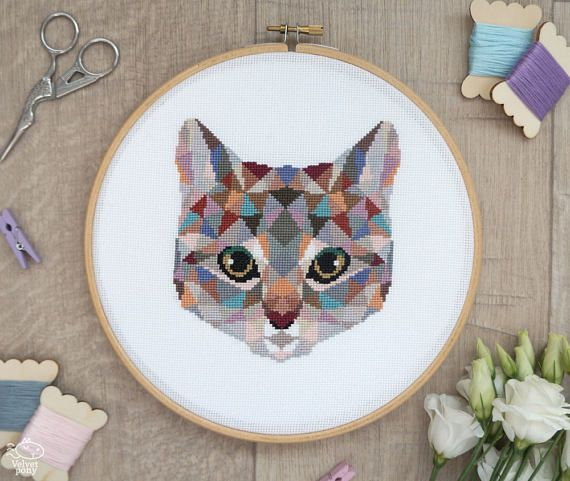Geometric Cat Counted Modern Cross Stitch Pattern. This pattern is an instant download PDF. Size: 83w x 95h stitches 18 Count Aida: approx. 4.6w x 5.3h inches or 11.7w x 13.4h cm 16 Count Aida: approx. 5.2w x 5.9h inches or 13.2w x 15.1h cm 14 Count Aida: approx. 5.9w x 6.7h inches