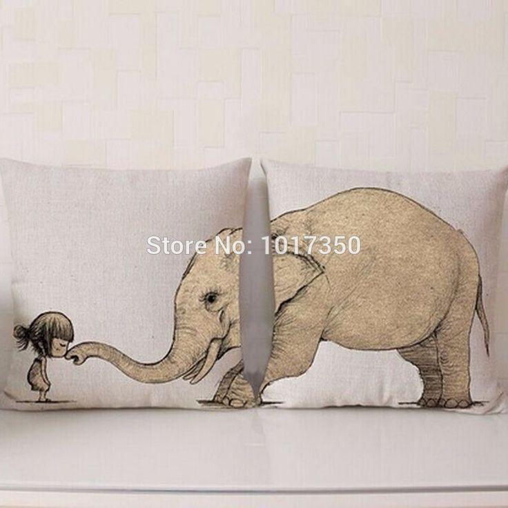 Cartoon Kussen Katoen Linnen Decoratieve Animal Olifant Kussensloop Stoel Seat 45x45 cm Kussens Core Home Textiel Kids geschenken(China (Mainland))