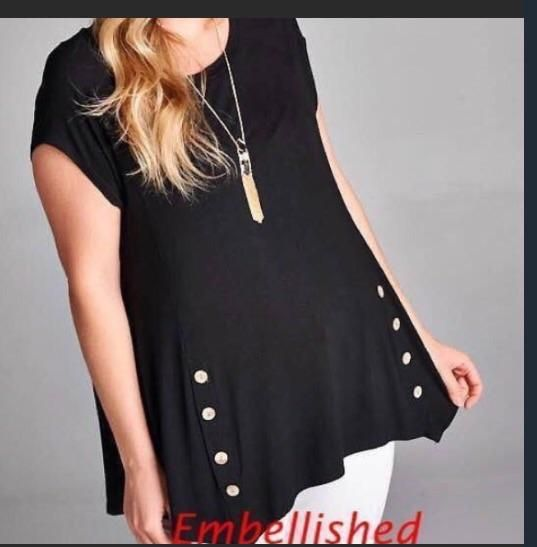 Black button tunic top – Embellished Cowgirl Boutique