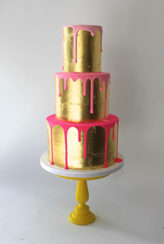 How fun is this gold drip cake