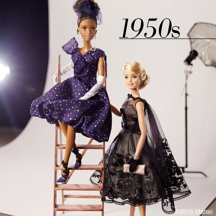 "1950s style was all about the ""new look""! These cinched waists and full skirts are stylish as ever today!  #barbie #barbiestyle"