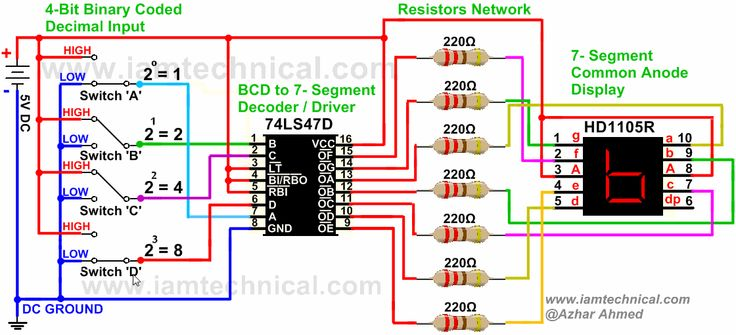 BCD to 7-Segment Display Driver 74LS47D Connected With HD1105R Common Anode Displaying Decimal '6' | IamTechnical.com