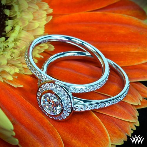Halo Bezel Engagement Ring Set
