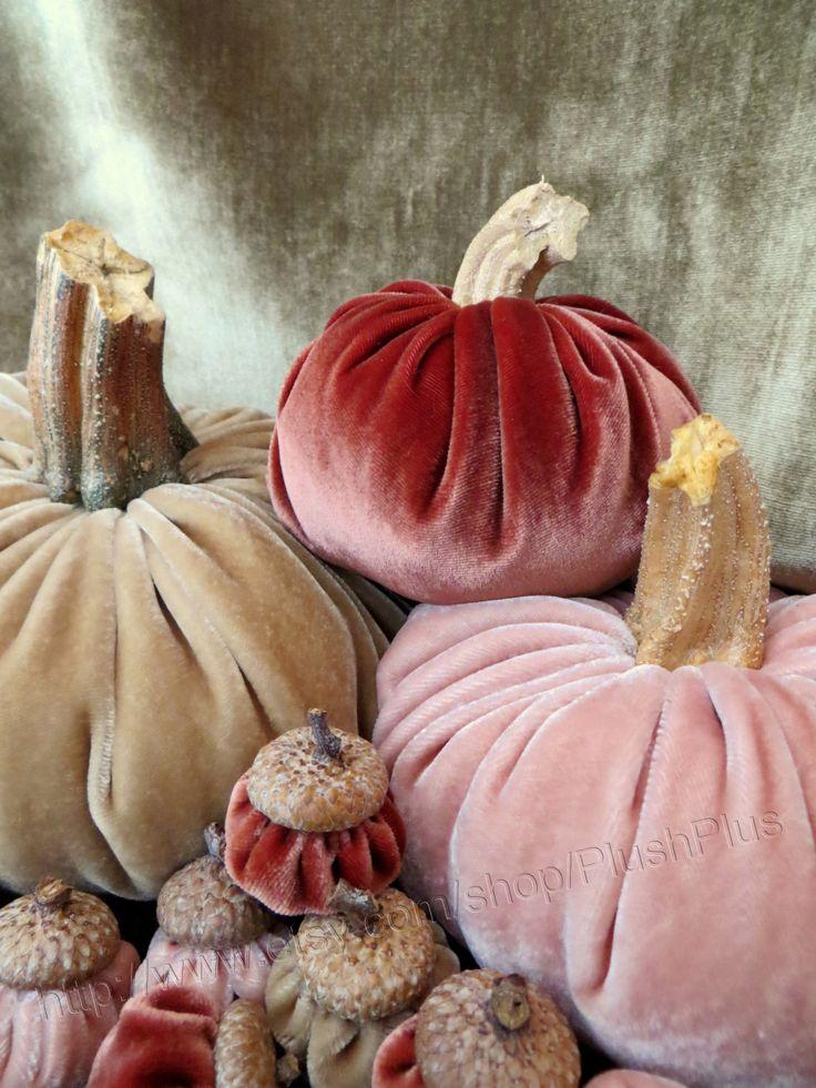 Velvet PUMPKINS & Velvet ACORNS Real Pumpkin Stems by PlushPlus