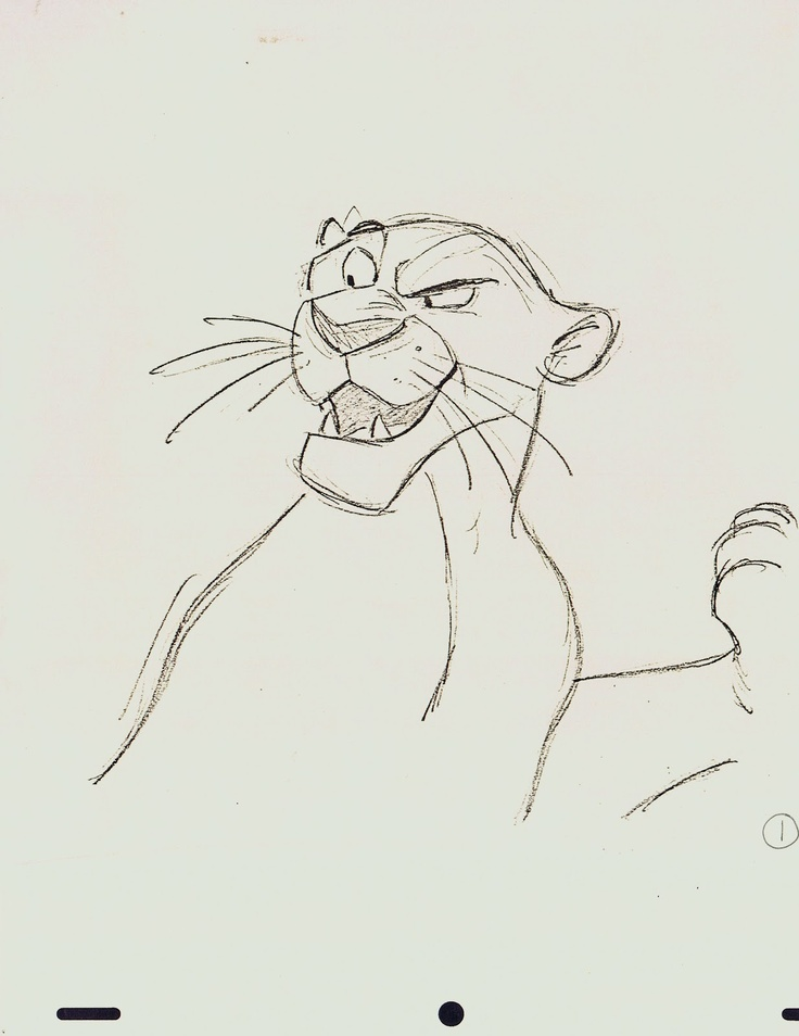 Bagheera, Jungle Book, animation sketches by Milt Kahl.
