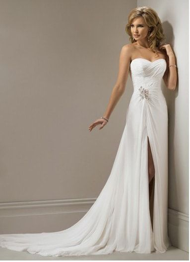 A Line Sweetheart Chiffon Side Split Pleated Beading Wedding Dress In Canada Wedding Dress Prices