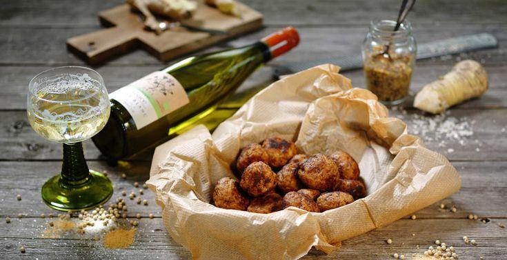 Recept till en annorlunda julmiddag (med smak av Alsace) - Köttbullar med ingefära! #jul #julbord #recept http://www.senses.se/recept-julmiddag-med-smak-av-alsace-del-1/