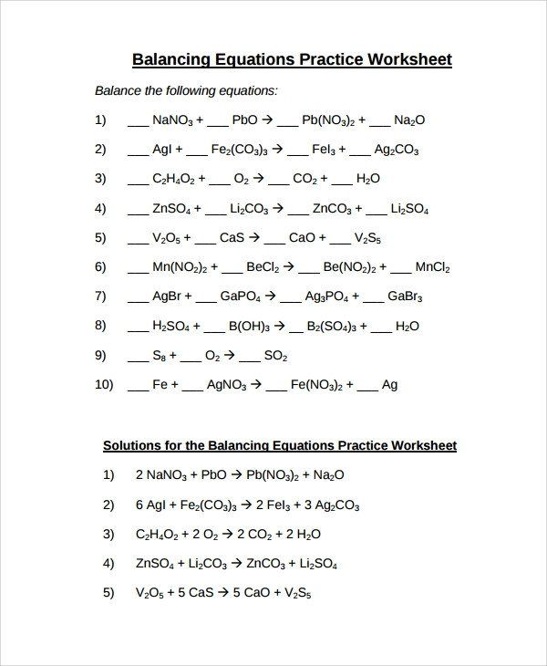 Nuclear Equations Worksheet Answers Free 9 Sample Balancing Equations Worksheet Templates In Balancing Equations Practices Worksheets Chemical Equation