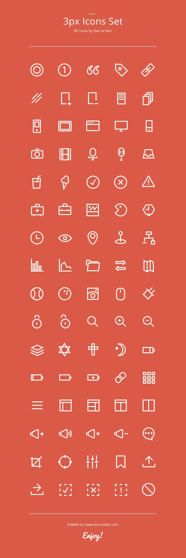 3px Icons Set | GraphicBurger