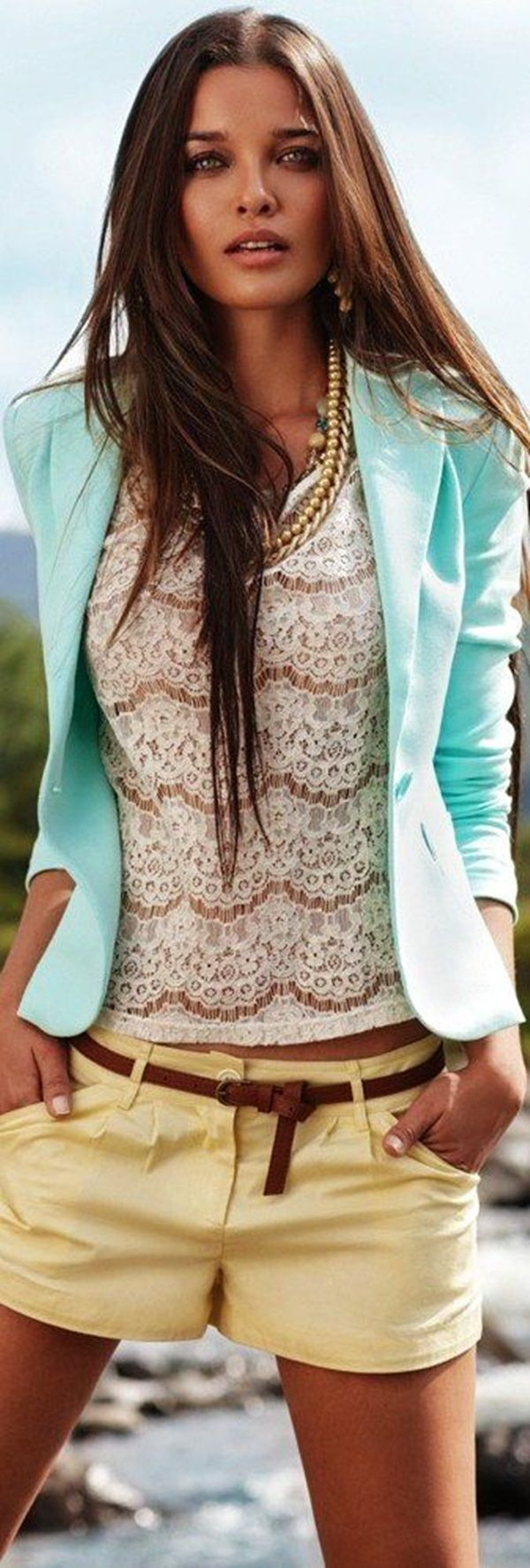 summer outfits womens fashion clothes style apparel clothing closet ideas lace blouse cyan jacket yellow shorts